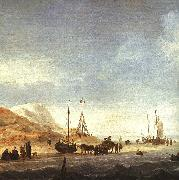 Simon de Vlieger A Beach with Shipping Offshore oil painting reproduction